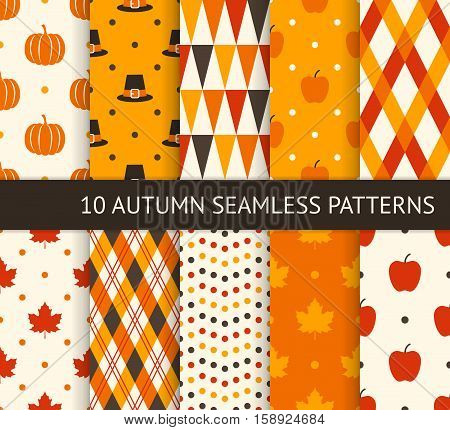 Ten retro different seamless patterns. Autumn and thanksgiving theme. Pumpkin apple maple leaf and pilgrim hat. Endless texture for wallpaper web page background wrapping paper and etc.
