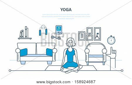 Interior of the room, furniture for relaxing, quiet atmosphere. Girl at home, in the lotus posture, doing yoga and rejuvenation. Illustration thin line design of vector doodles, infographics elements.