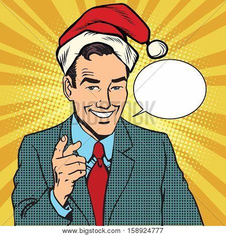 Christmas businessman pointing finger, pop art retro comic book illustration