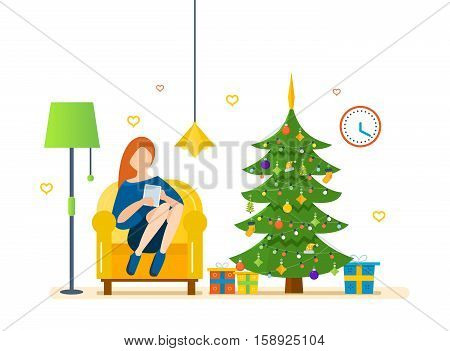 New Year festive atmosphere. Interior of the room, woman at home near a Christmas tree, recreation and working with the tablet in the living room. Vector illustration. Can be used as materials.