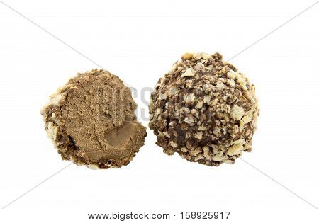 Chocolate candies isolated on white background .