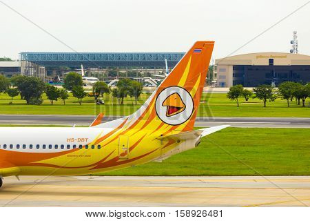 Tail Section Nok Air Airplane Taxiing Don Mueang H