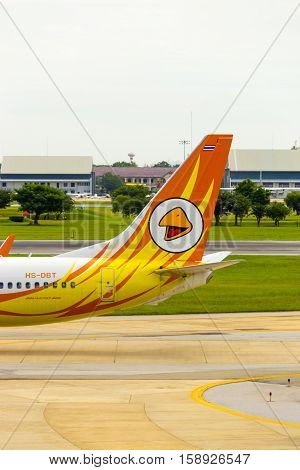 Tail Section Nok Air Airplane Taxiing Don Mueang V