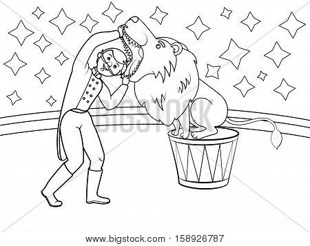 Circus animal trainer puts his head in lion mouth. Coloring book. Cartoon vector illustration