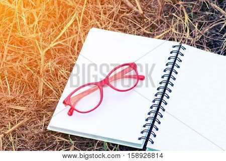 Red Glasses On Open Blank Notebook in Field with Sunlight