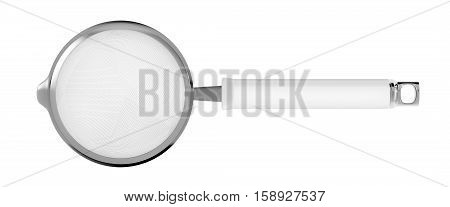 Top view of tea strainer isolated on white background, 3D illustration