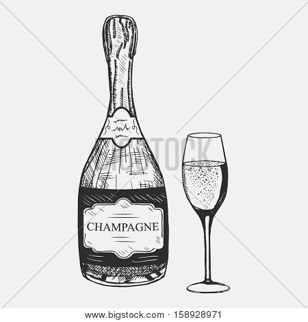 Creative sketch of champagne composition. Vector illustration. Hand drawing champagne set used for advertising beverage in restaurant or pub menu, for logo design.