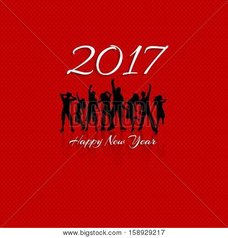 New Year party background with silhouettes of people dancing