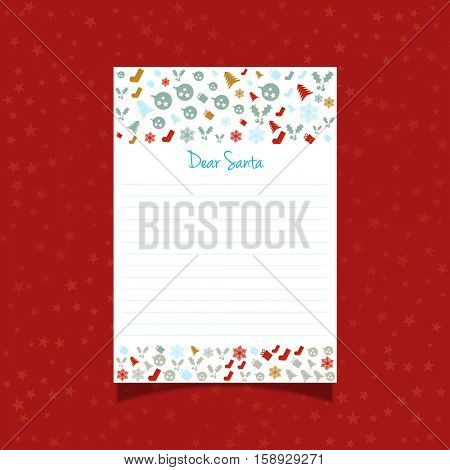 Decorative Christmas letter to Santa with icons