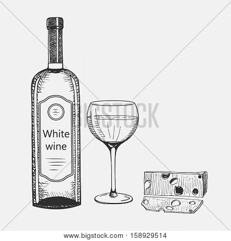 Hand drawn set of white wine elements. Vector illustration. Wine composition used for advertising wine, beverage in restaurant or bar menu, for logo design.