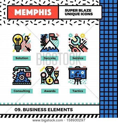 Business Elements Neo Memphis Icons.