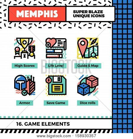 Game Elements Neo Memphis Icons.