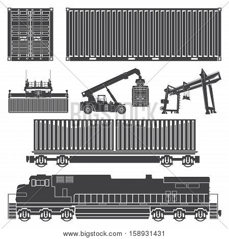 Vector set of isolated silhouettes of the container, loaders, truck crane, train, locomotive, wagon with containers. Transport logistics transportation of cargo in containers.