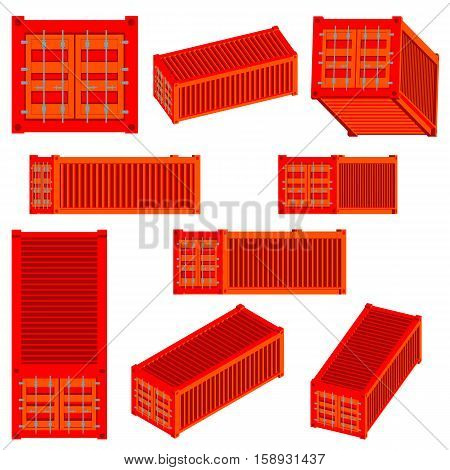 Vector isolated set of Isometric renderings of the cargo container of various species. 3D illustration of transport logistics. Cargo container or shipping container.