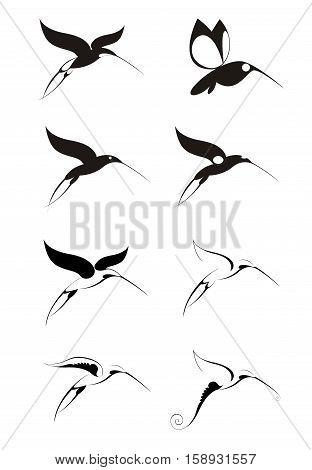 Original decorative bird silhouettes set for design