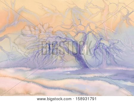 Winter landscape watercolor background. Winter blue landscape with trees and snow.