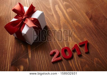 gift box on the wooden background