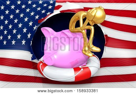 The Original 3D Character Illustration With Life Preserver And Piggy Bank