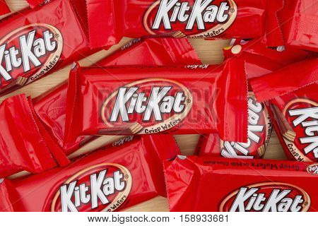 South Carolina USA November 2016. Editorial image of KitKat chocolate candy bar Background. KitKat chocolate bars are a favorite snack food in the USA and are used in a lot of dessert recipes H