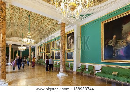 SAINT PETERSBURG RUSSIA - OCTOBER 20 2016: Interior of Stroganov Palace. It is a Late Baroque palace in St. Petersburg. Now it is a museum