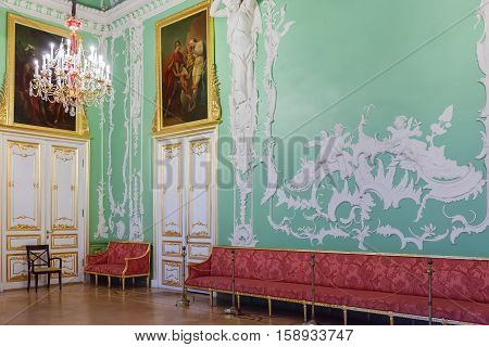 ST. PETERSBURG RUSSIA - OCTOBER 20 2016: Interior of Stroganov Palace. It is a Late Baroque palace in Saint Petersburg. Now it is a museum