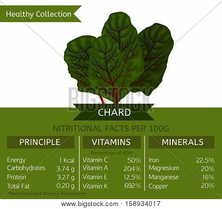 Swiss chard health benefits. Vector illustration with useful nutritional facts. Essential vitamins and minerals in healthy food. Medical, healthcare and dietory concept.