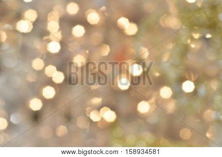 Illuminated Christmas tree on indistinct blurred background. Christmas background.