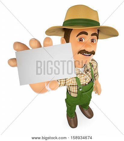 3d working people illustration. Gardener showing a blank card. Isolated white background.
