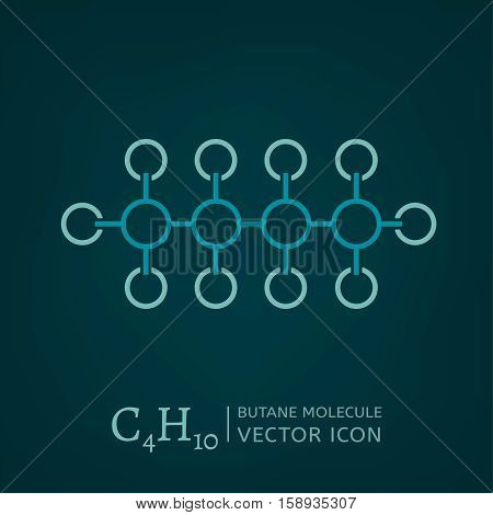 Butane molecule in flat style. C4H10 vector illustration isolated on a dark green background. Scientific, chemical, educational and popular-scientific concept.