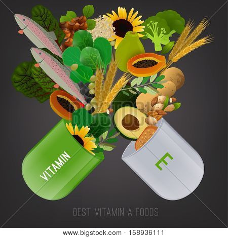 Vitamin E vector illustration. Foods containing vitamin E come apart from opened pill. Source of vitamin E - nuts, corn, vegetables, fish, oils isolated on dark grey background