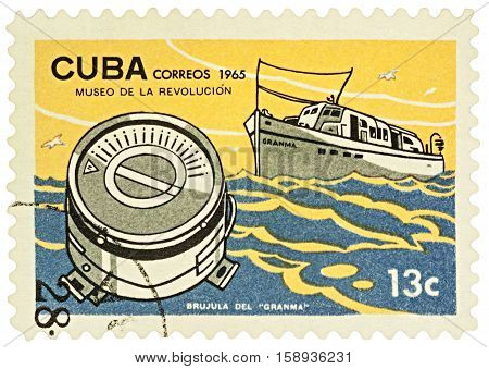MOSCOW RUSSIA - NOVEMBER 26 2016: A stamp printed in Cuba shows Cuban ship Granma and compass series