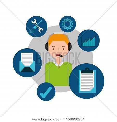 blond man support operator assistance vector illustration eps 10