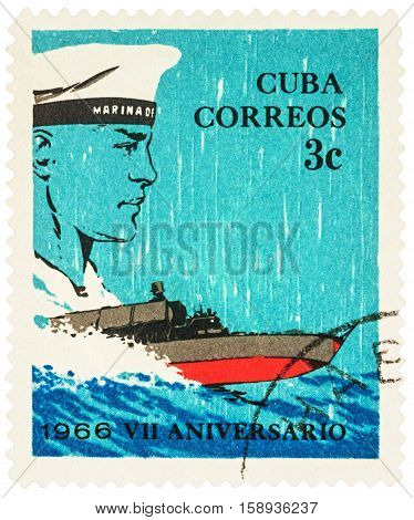 MOSCOW RUSSIA - NOVEMBER 26 2016: A stamp printed in Cuba shows sailor and powerboat series