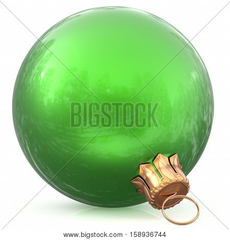 Christmas ball green decoration bauble New Year's Eve wintertime hanging adornment souvenir. Traditional ornament happy winter holidays Happy Merry Xmas symbol blank shiny classic. 3d illustration
