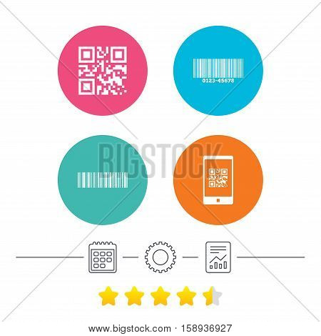 Bar and Qr code icons. Scan barcode in smartphone symbols. Calendar, cogwheel and report linear icons. Star vote ranking. Vector