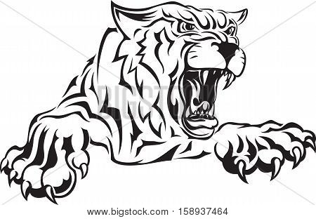 Vector black and white illustration of furious angry face of terrible tiger with open mouth and terrible teeth. Great for use as logo element icon as a tattoo or symbol of strength and aggressiveness.