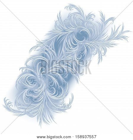 Frost pattern frosty window background. Hand drawn vector illustration of an intricate frost work.