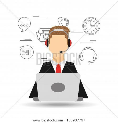 avatar man red tie contact us information service vector illustration eps 10