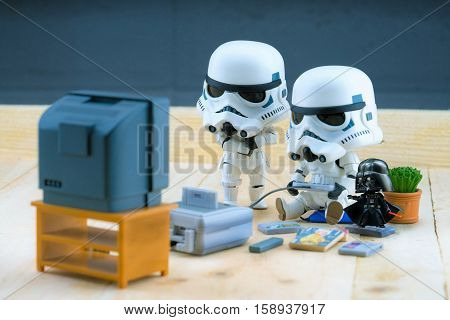 BANGKOK Thailand - December 18 2015 : Miniature Model of Stormtroopers playing the game The stormtroopers are soldiers in the Star Wars The Force Awakens