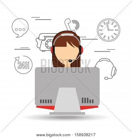 avatar girl brunette contact us information service vector illustration eps 10