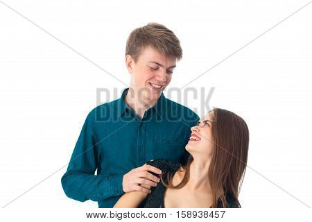 elegant cute couple in love having fun in studio on white background