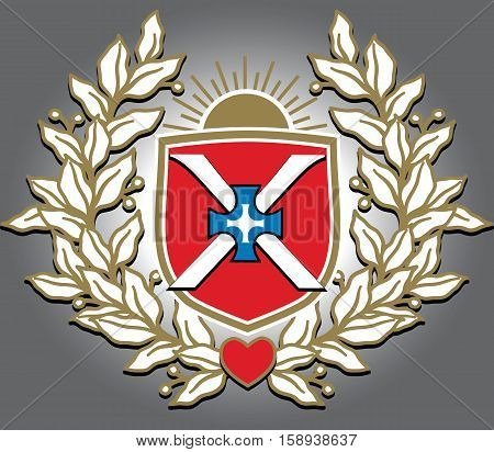 Vector richly and magnific decorated crest with image of triumphal laurel wreath sunrise shield crossed liles and heart.