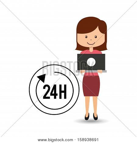support assitance concept girl with 24 hours service vector illustration eps 10