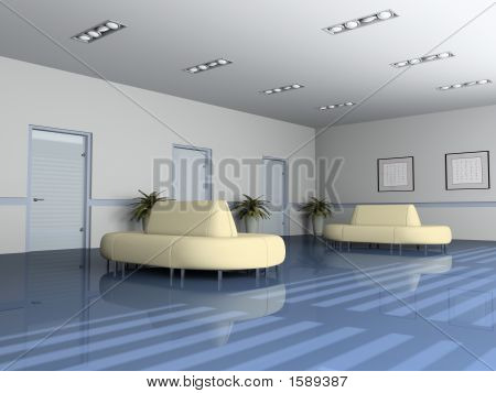 Reception Room In Office 3D Rendering