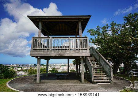 Okinawa Japan - October 21 2016: Wooden platform top of View Point at Japanese Navy Underground Headquarters during world war II