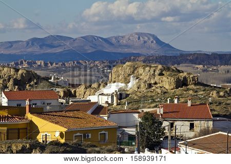 Small Andalucían town Guadix and Sierra de Baza
