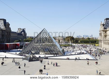 PARIS FRANCE - SEPTEMBER 28 2015: The Louvre Museum the world's largest museum in Paris France