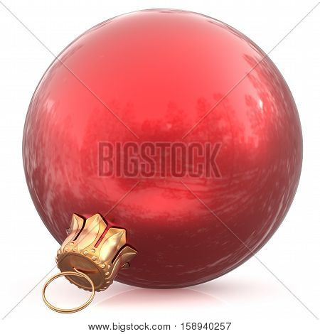Christmas ball red hanging bauble New Year's Eve decoration wintertime adornment souvenir. Traditional ornament happy winter holidays Happy Merry Xmas symbol blank shiny classic. 3d illustration
