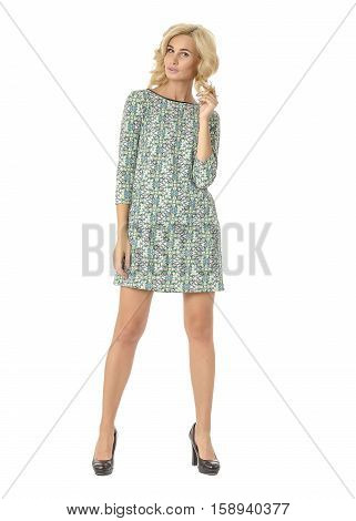 Portrait Of Flirtatious Woman In Dress Isolated On White