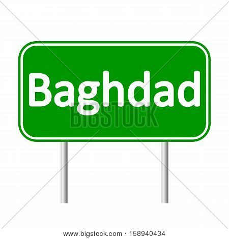 Baghdad road sign isolated on white background.